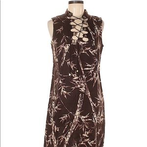 MICHAEL KORS Women's Brown Linen Sleeveless Dress